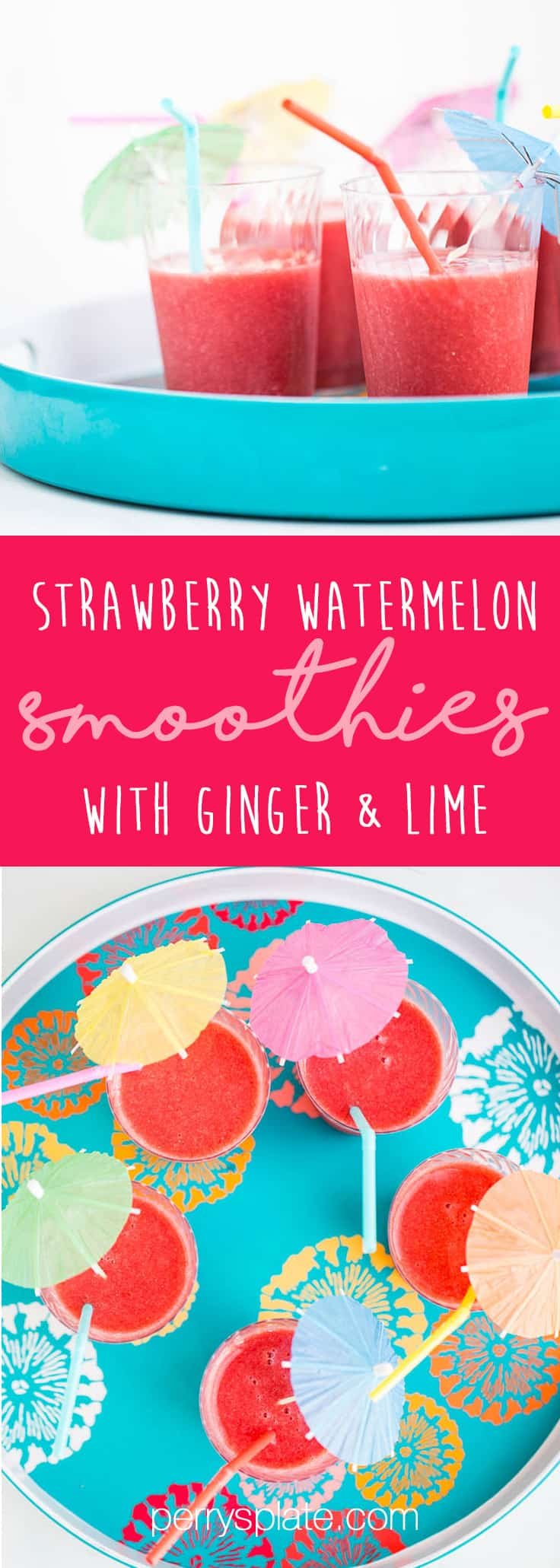 This Strawberry Watermelon Smoothie is my all-time favorite summer smoothie -- perfect to make when strawberries and watermelon are ripe and sweet! | perrysplate.com