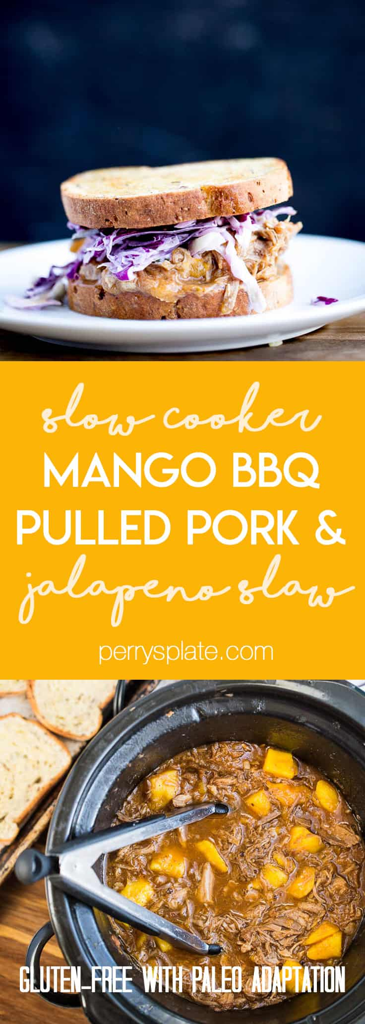 Slow Cooker Mango BBQ Pulled Pork with Jalapeno Slaw -- Perfect for potlucks or a weeknight summer meal! Easily made Paleo-friendly.   PerrysPlate.com