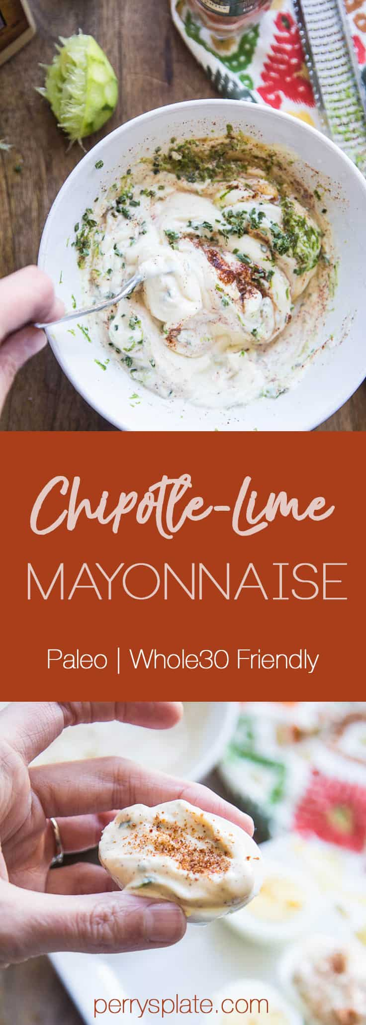 Chipotle-Lime Mayonnaise | paleo recipes | homemade mayo | Whole30 recipes | Keto recipes | perrysplate.com