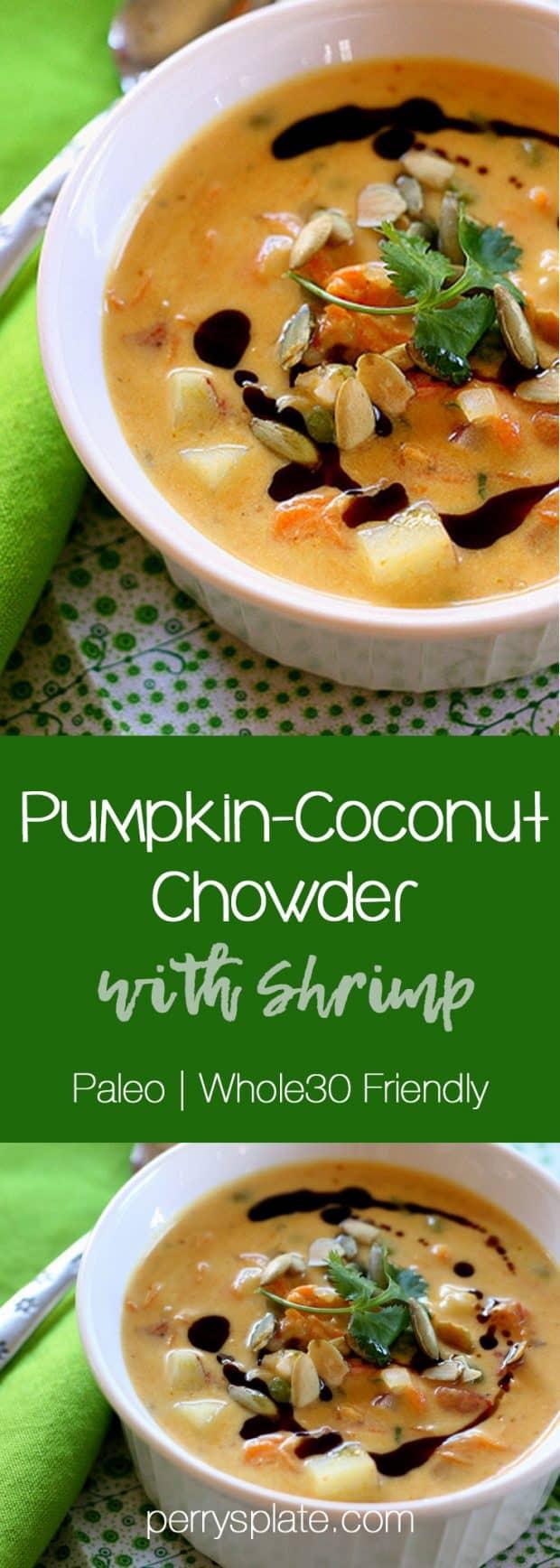 Pumpkin-Coconut Chowder with Shrimp | Whole30 recipes | paleo recipes | soup recipes | gluten-free recipes | perrysplate.com