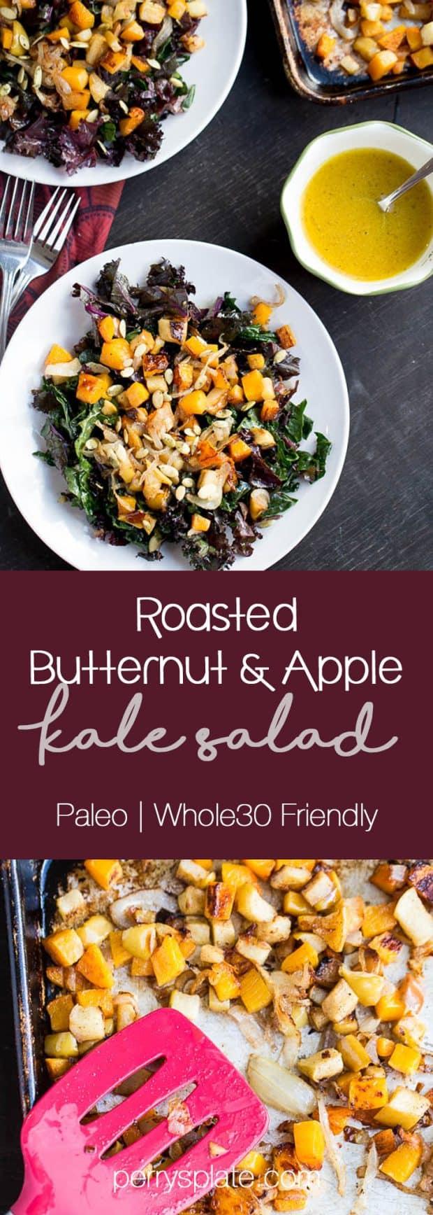 Kale Salad with Roasted Butternut Squash & Apples | paleo recipes | Whole30 recipes | kale recipes | perrysplate.com