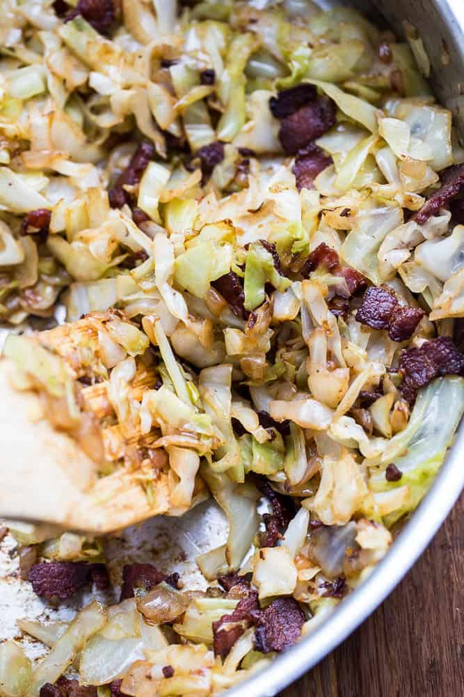 Caramelized Cabbage and Bacon | Paleo recipes | Whole30 recipes | Keto recipes | Low-carb recipes | perrysplate.com