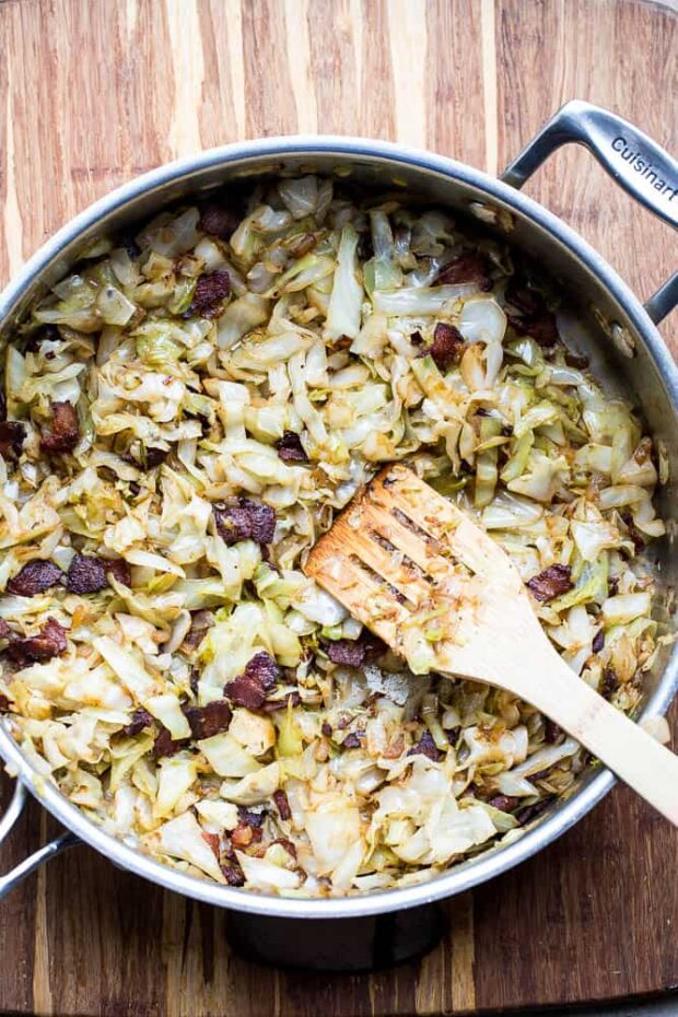 Caramelized Cabbage & Bacon -- part of the Whole30 meal plan for this week!