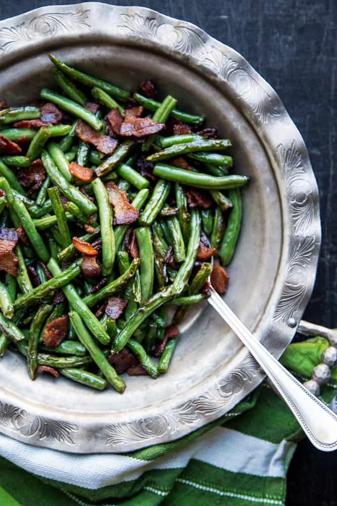 Bacon-Fried Green Beans | paleo recipes | Whole30 recipes | gluten-free recipes | dairy-free recipes | keto recipes | low carb recipes | perrysplate.com