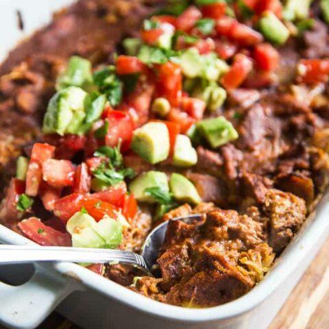 Paleo Chicken Enchilada & Spaghetti Squash Bake