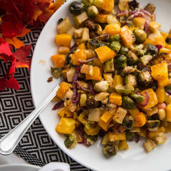 Roasted Fall Vegetables with Apple & Gouda