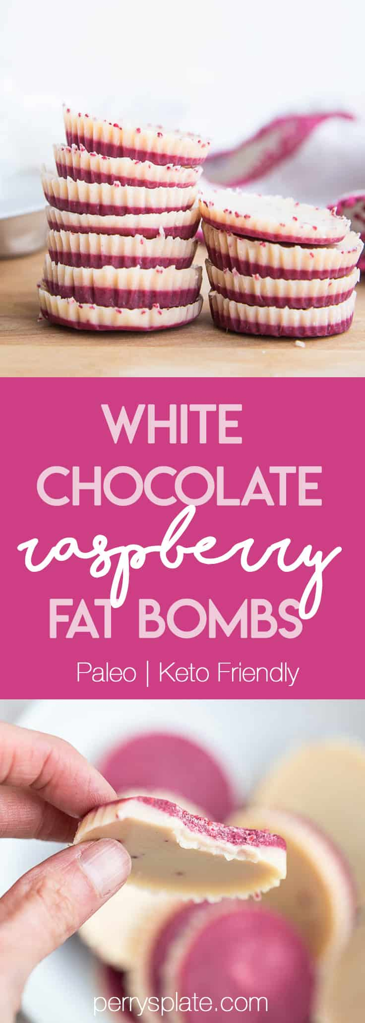 These keto friendly, sugar free fat bombs are the BEST little treat! The raspberry flavor is so strong and together they taste like a white chocolate raspberry truffle. Totally delicious.