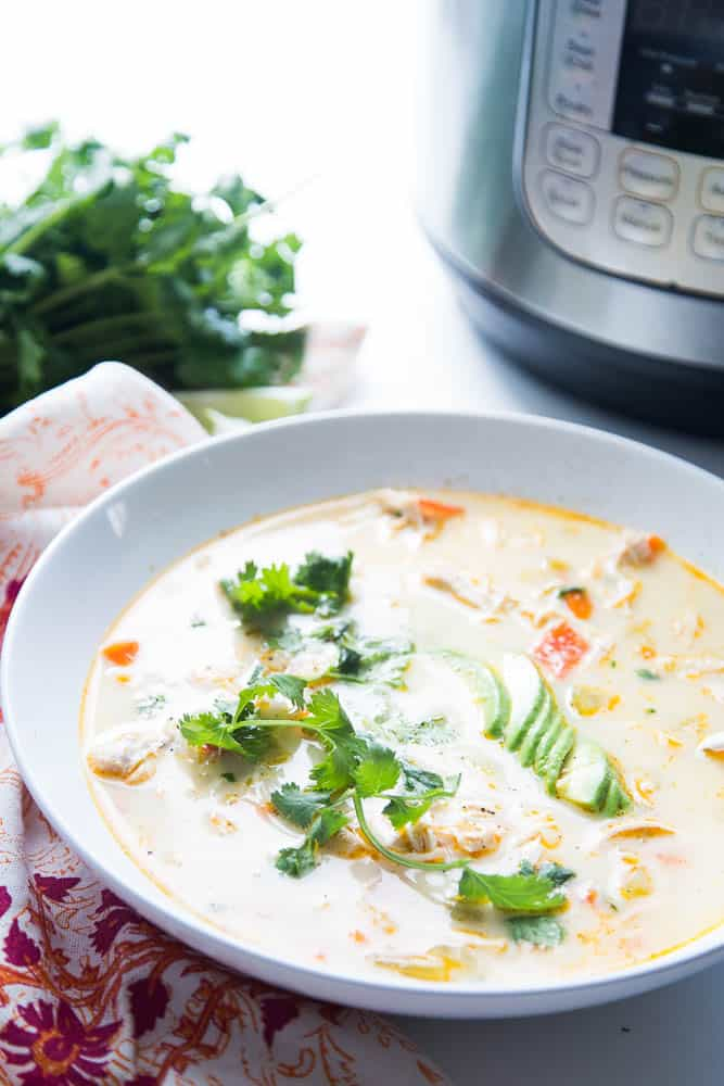 Creamy Southwest Chicken Soup (Instant Pot or Slow Cooker)   paleo recipes   gluten-free recipes   Instant Pot recipes   slow cooker recipes   paleo recipes   Whole30 recipes   soup recipes   crock pot recipes   perrysplate.com