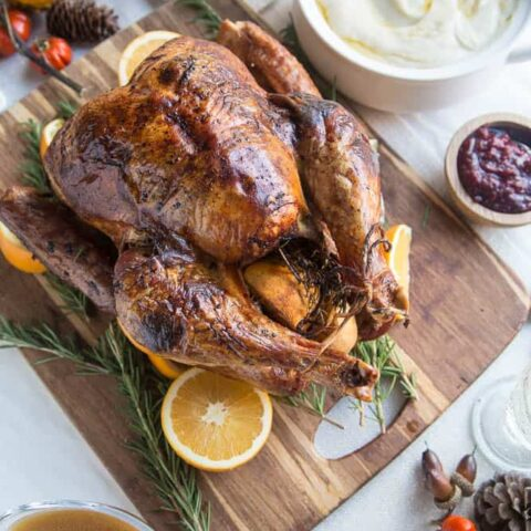 Dry Brine Turkey with Orange-Rosemary Herb Butter