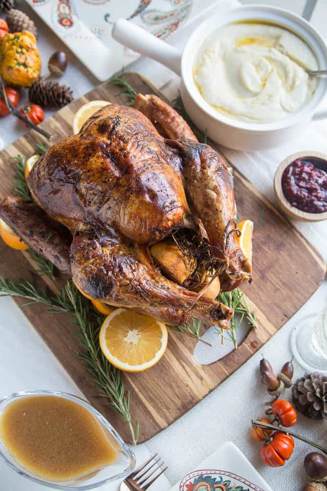 Dry Brine Turkey with Orange-Rosemary Herb Butter | primal recipes | turkey recipes | Thanksgiving recipes | paleo recipes | gluten-free recipes | perrysplate.com