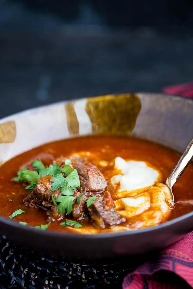 Paleo Hungarian Goulash for Instant Pot | paleo recipes | Whole30 recipes | Austrian recipes | Hungarian recipes | beef stew recipes | gluten-free recipes | dairy-free recipes | perrysplate.com