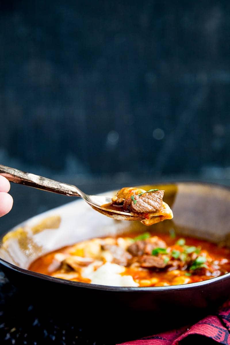 Paleo Instant Pot Goulash | paleo recipes | Whole30 recipes | Austrian recipes | Hungarian recipes | beef stew recipes | gluten-free recipes | dairy-free recipes | perrysplate.com