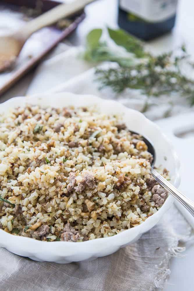 Paleo Roasted Cauliflower Stuffing with Sausage & Walnuts | paleo recipes | healthy Thanksgiving recipes | gluten-free recipes | Whole30 recipes | dairy-free recipes | perrysplate.com