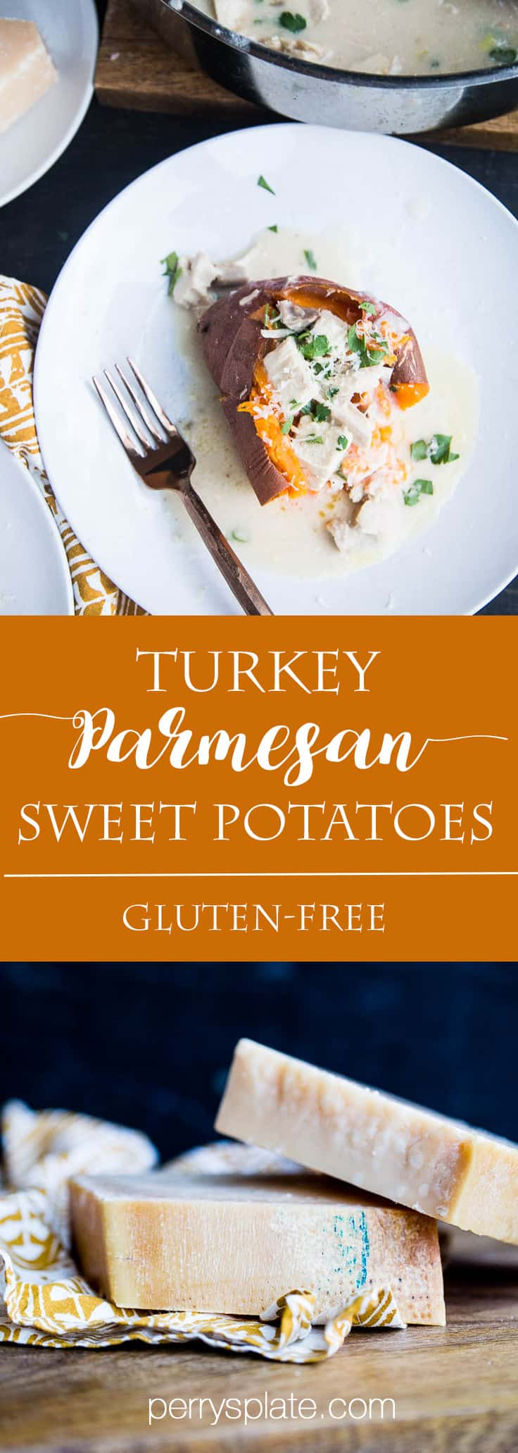 Turkey Parmesan Stuffed Sweet Potatoes | turkey recipes | sweet potato recipes | easy weeknight recipes | gluten-free recipes | perrysplate.com