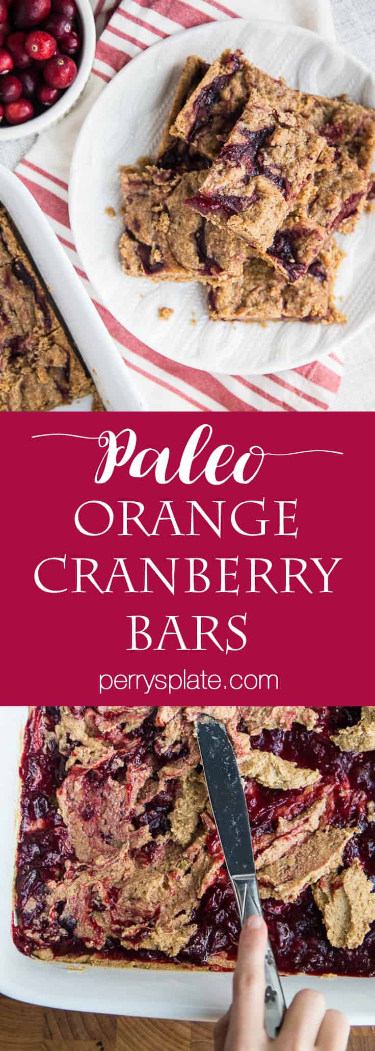 Paleo Orange Cranberry Bars | paleo dessert recipes | leftover cranberry sauce recipes | orange recipes | gluten-free recipes | dairy-free recipes | perrysplate.com