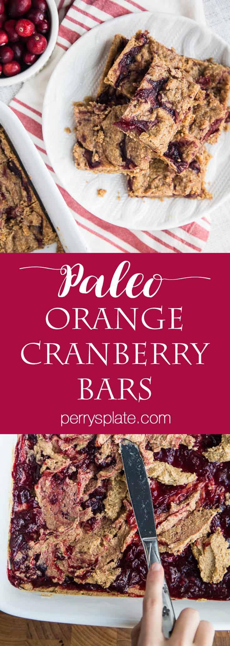 Paleo Orange Cranberry Bars | paleo dessert recipes | leftover cranberry sauce recipes | orange recipes | gluten-free recipes | dairy-free recipes | perrysplate.com
