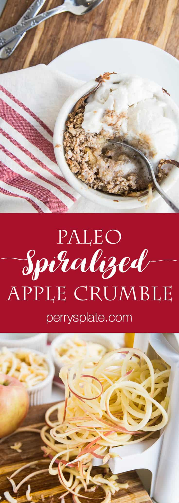Spiralized Paleo Apple Crumble | paleo recipes | apple recipes | gluten free recipes | dairy free recipes | paleo dessert recipes | perrysplate.com