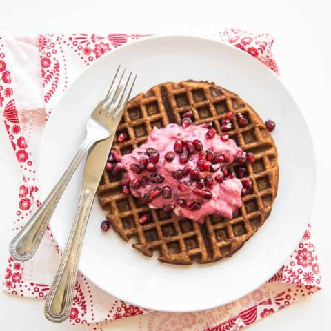 Chai Paleo Gingerbread Waffles with Pomegranate & Cranberry Cream