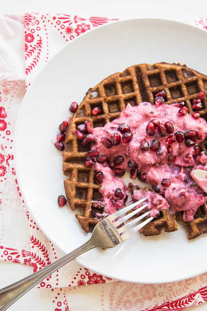 Chai Paleo Gingerbread Waffles with Pomegranate & Cranberry Cream | paleo recipes | Christmas breakfast recipes | gingerbread recipes | gluten-free waffle recipes | dairy free recipes | perrysplate.com