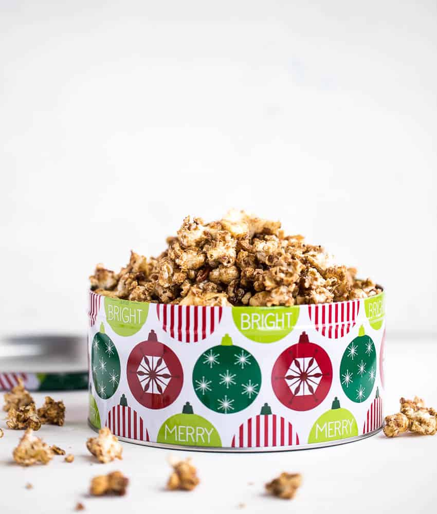 Loaded Chai Caramel Popcorn (Dairy & Gluten Free!) | popcorn recipes | gluten-free recipes | dairy-free recipes | chai recipes | Christmas recipes | holiday gift ideas | neighbor treat ideas | perrysplate.com