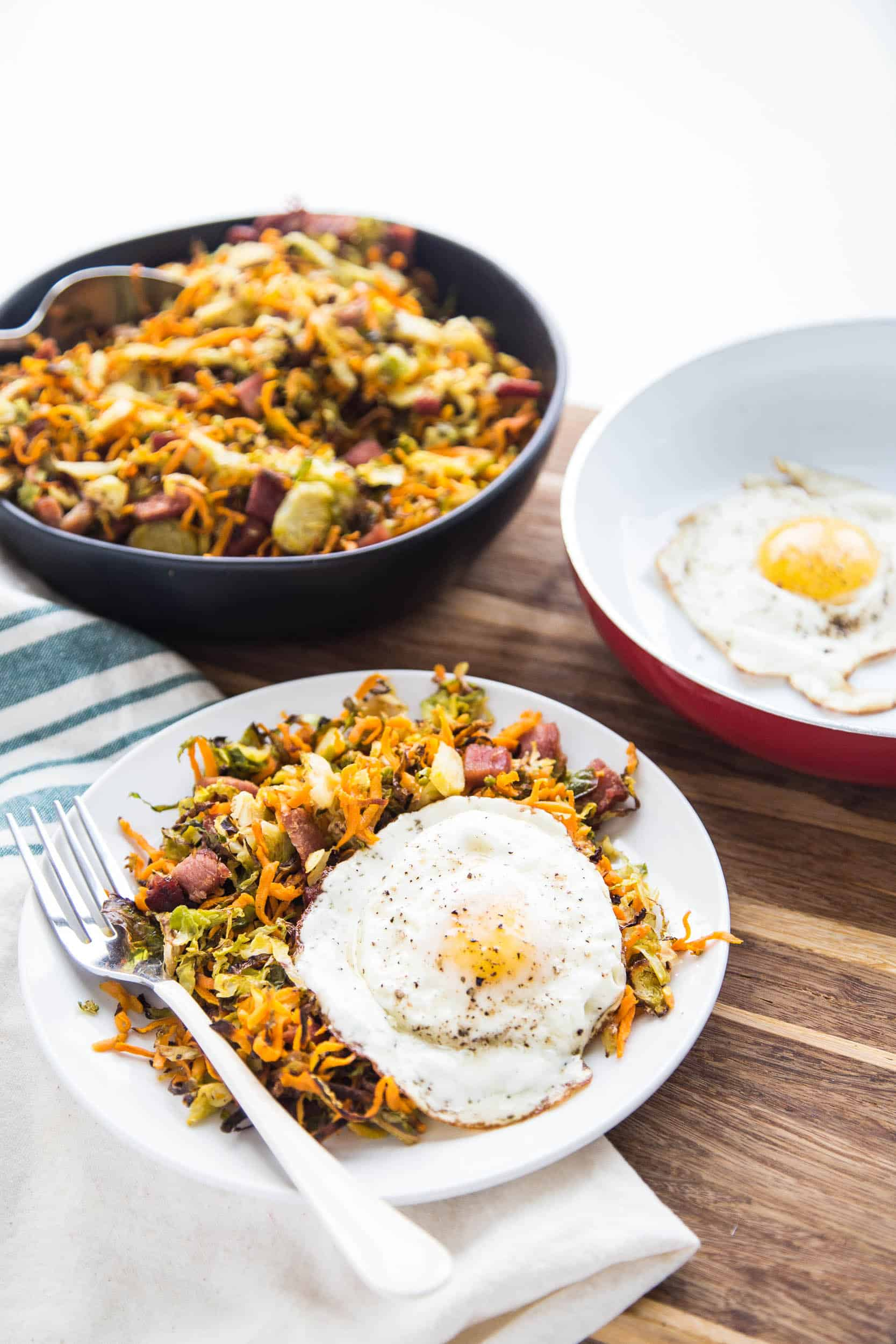 Roasted Ham & Shredded Brussels Sprout Hash | paleo recipes | breakfast recipes | leftover ham recipes | brunch recipes | gluten-free recipes | dairy-free recipes | perrysplate.com