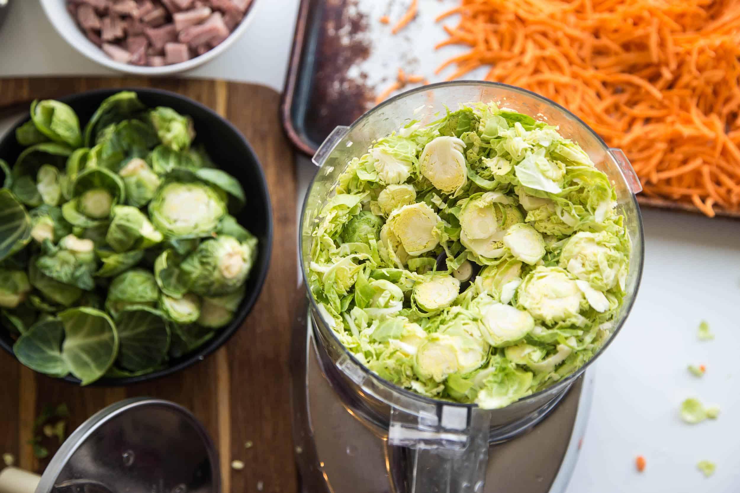 Roasted Ham & Shredded Brussels Sprout Hash | paleo recipes | breakfast recipes | leftover ham recipes | brunch recipes | gluten-free recipes | dairy-free recipes | perrysplate.com