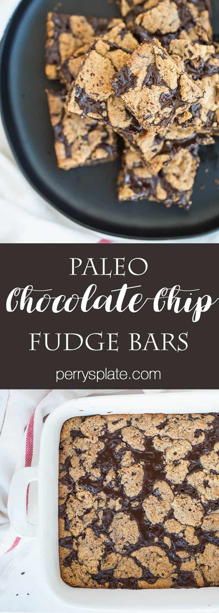 Paleo Chocolate Chip Fudge Bars | paleo dessert recipes | gluten-free cookie recipes | chocolate recipes | chocolate chip cookie recipes | perrysplate.com