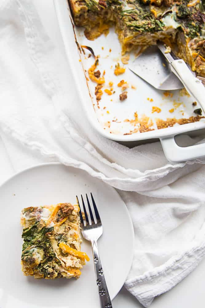 Spiralized Butternut Squash Breakfast Bake | Paleo recipes | low carb recipes | butternut squash recipes | brunch recipes | gluten-free recipes | dairy free recipes | perrysplate.com
