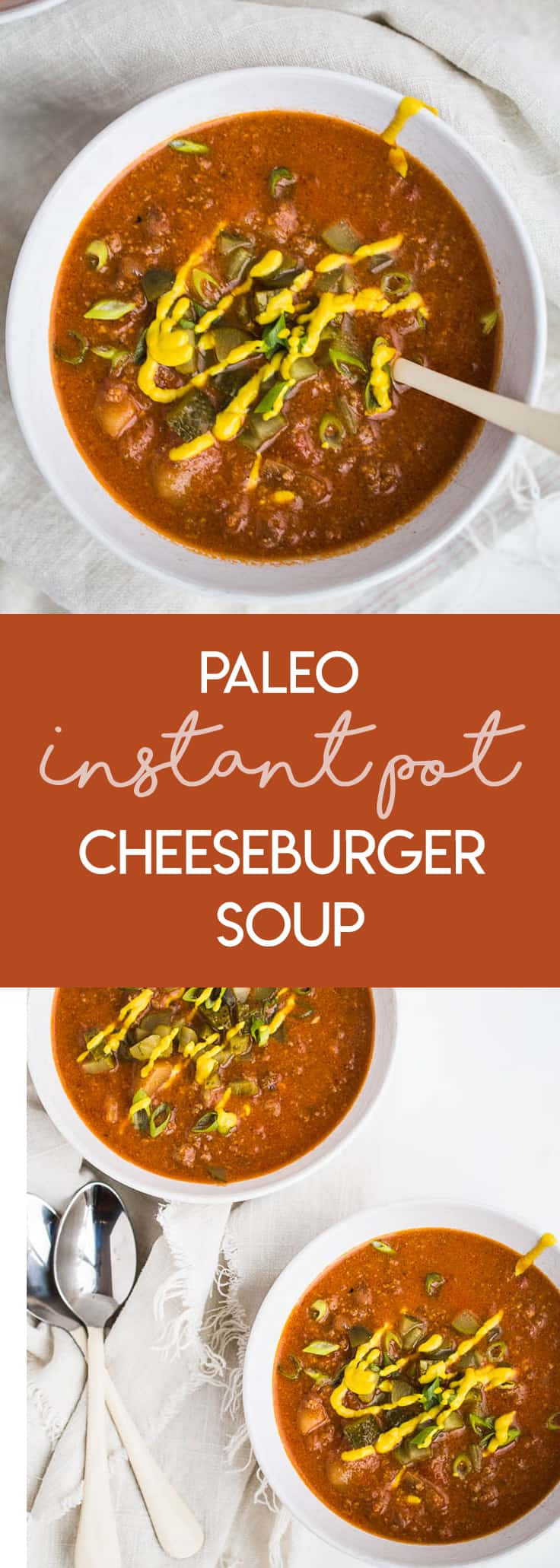 Paleo Instant Pot Cheeseburger Soup | This soup has all of the best flavors from a classic cheeseburger and freezes well! It's also paleo and easily made Whole30 compliant. | Instant Pot recipes | ground beef recipes | soup recipes | perrysplate.com