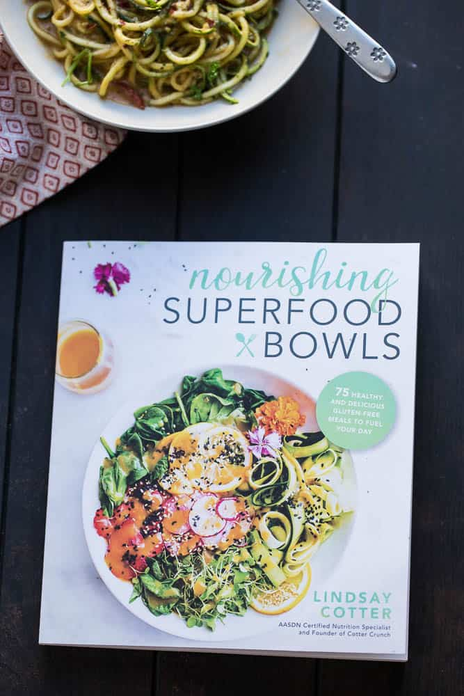 5-Minute Cheesy Zucchetti Bowls - a zippy little lunch bowl that's vegan, paleo, low-carb, and Whole30 friendly! | Plus a review of Nourishing Superfood Bowls by Lindsay Cotter | perrysplate.com