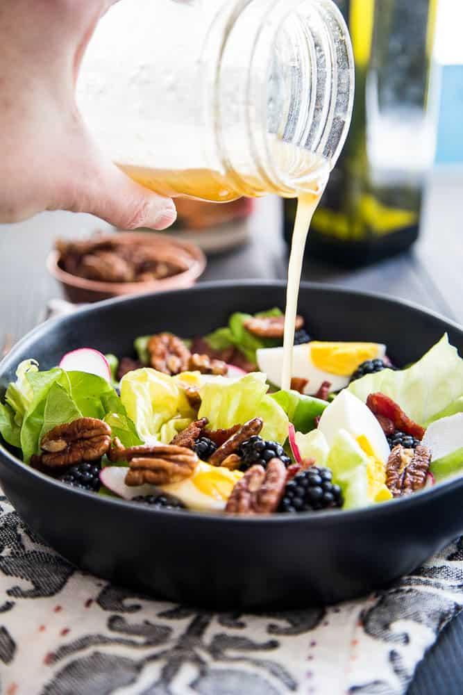 Blackberry, Bacon, & Egg Salad with Maple Dijon Vinaigrette   quick salad recipes   gluten-free recipes   perrysplate.com