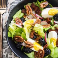 Blackberry, Bacon, & Egg Salad with Maple Dijon Vinaigrette