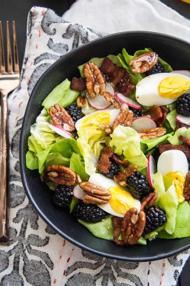 Blackberry, Bacon, & Egg Salad with Maple Vinaigrette | Paleo Meal Plans