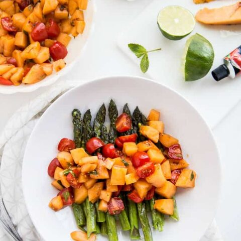 Asparagus and Grilled Melon Salad