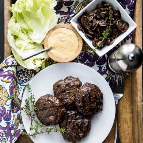 Double Mushroom Burgers with Roasted Garlic Aioli