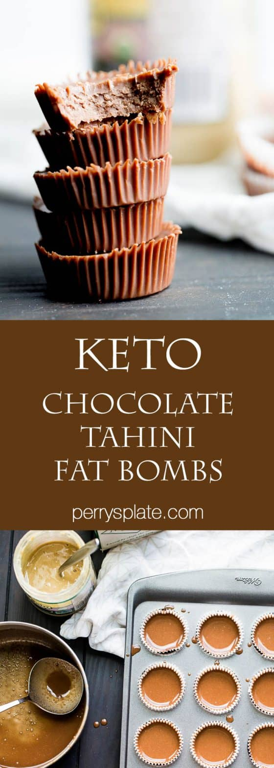 These little keto chocolate tahini fat bombs taste like a peanut butter cup without the nuts! They come together quickly and easily and will help keep your face out of the Reese's bag. | low-carb recipes | low carb high fat | perrysplate.com