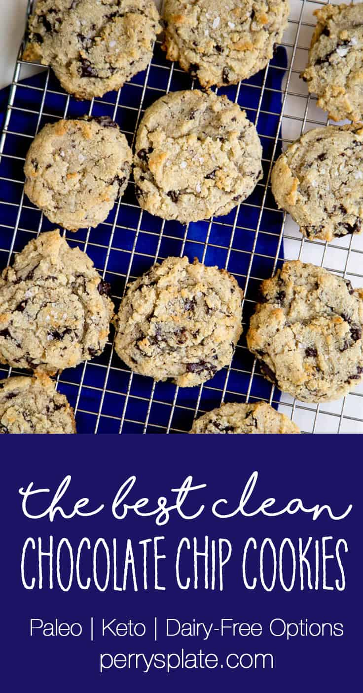 These are the best paleo chocolate chip cookies I've ever had! There's also a low-carb option in the recipe notes if you follow a keto diet. | perrysplate.com