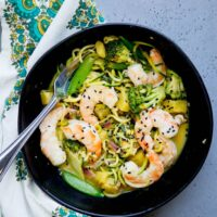Thai Green Curry Zoodles with Shrimp and Broccoli