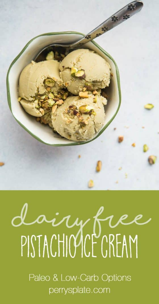 Dairy Free Pistachio Ice Cream starts off with homemade pistachio milk -- it's easier than you think! This ice cream is naturally sweetened and has a low-carb/keto option, too. | perrysplate.com