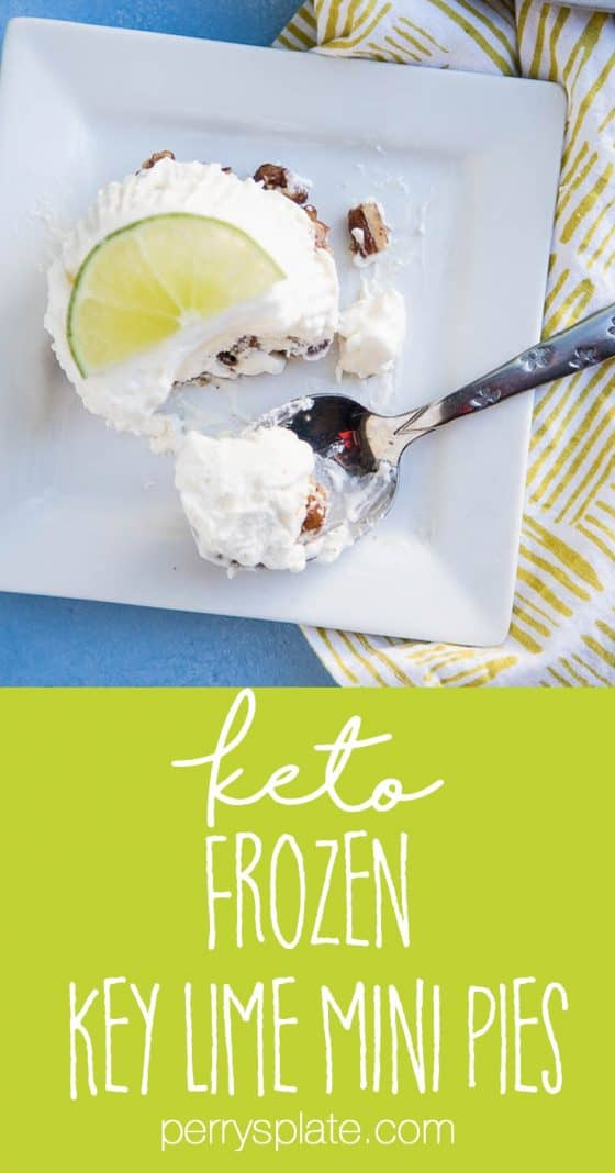Keto Frozen Key Lime Mini Pies are so easy to make and they can hang out in the freezer and wait until you need them. I love the crumbly candied pecan crust on the bottom! You can make them dairy-free, too. | perrysplate.com