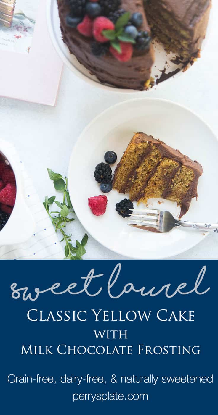 "Classic ""Yellow"" Birthday Cake with Milk Chocolate Frosting from Sweet Laurel's Cookbook! You'll never know it's gluten-free (and grain-free) and dairy free! 