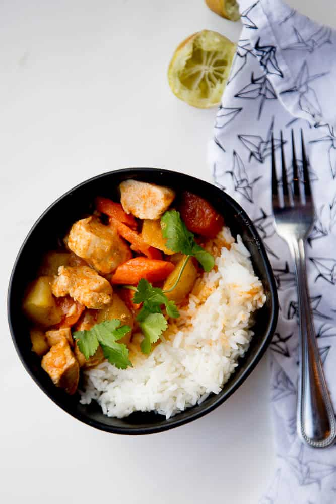 Make this flavorful, kid-friendly Thai Chicken Curry in your Instant Pot! (Also includes stovetop and slow cooker instructions!) Swap out the vegetables, protein, or even make it vegetarian. Super easy and can be made low-carb/keto or Whole30 friendly. | perrysplate.com