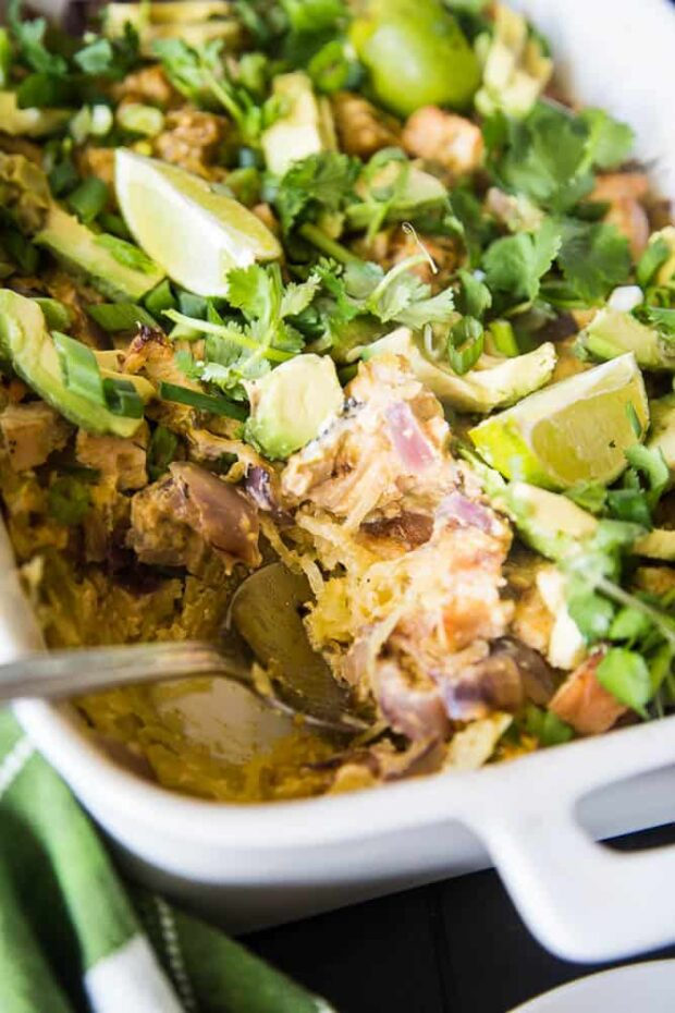 Green Chile Chicken Spaghetti Squash Bake -- Paleo Meal Plans