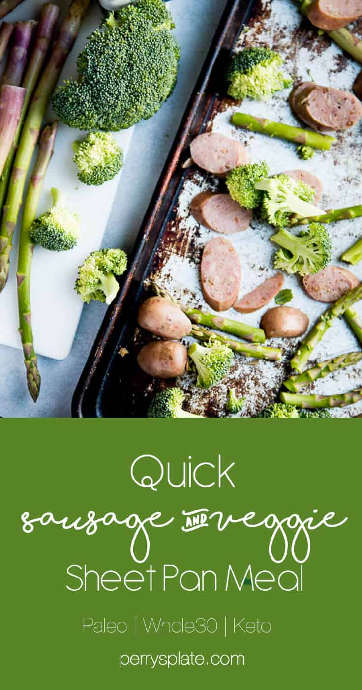Sheet pan dinners are my favorite weeknight go-to meal! You can hardly call it a recipe, though. Swap out the veggies and protein for quick-roasting ones you love. Easy to make Whole30, Paleo, or Keto/Low-Carb friendly! | PerrysPlate.com