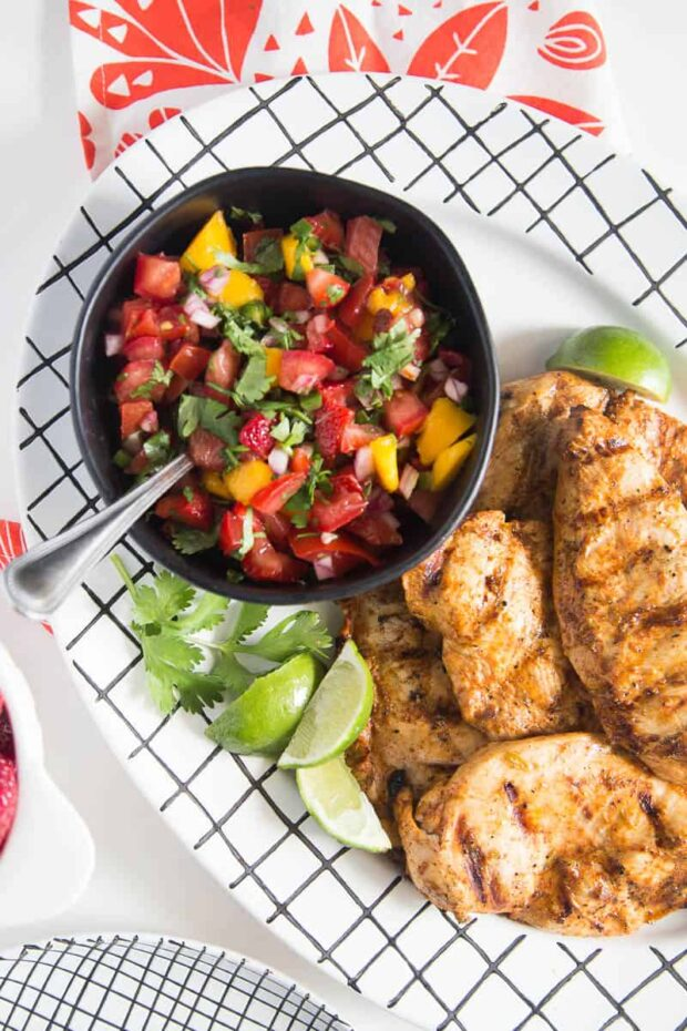 Grilled Chipotle-Lime Chicken with Strawberry Mango Salsa -- part of our Paleo Meal Plan this week!