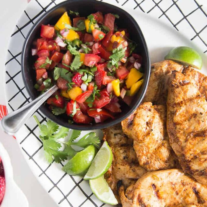 Chipotle-Lime Grilled Chicken with Strawberry Mango Salsa