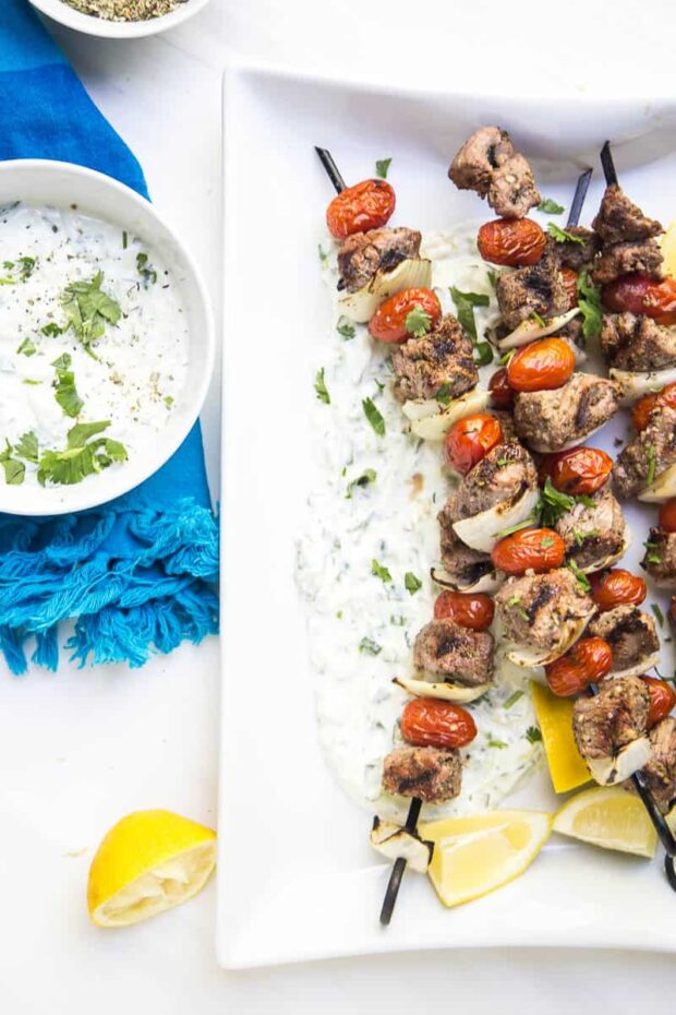 Easy Greek Steak Kebabs with Homemade Tzatziki -- Paleo Meal Plans