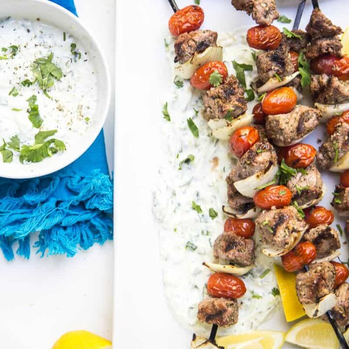 Easy Greek Steak Kebabs and Tzatziki
