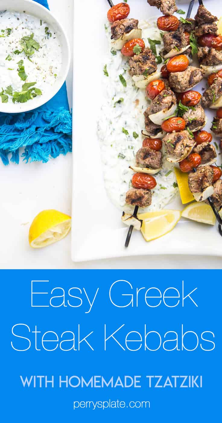 These Easy Greek Steak Kebabs are a quick meal that's great for busy weeknights or for a weekend dinner party! (Don't forget the homemade tzatziki!) | #grillingrecipes #steakrecipes #beefkebabs