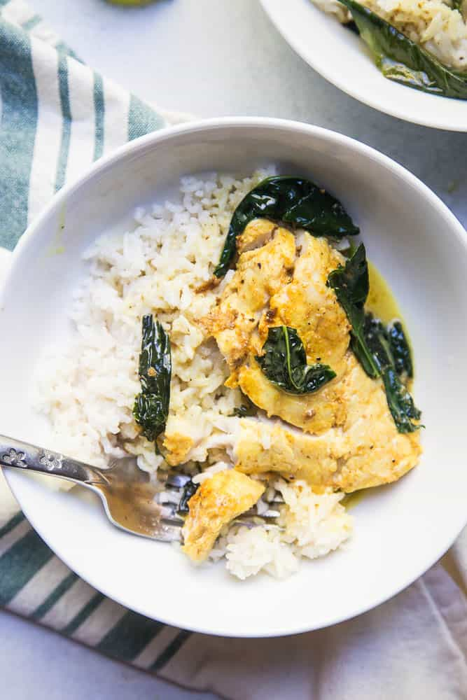 This one-pan Thai Coconut Fish Curry is a life-saver on a busy weeknight! Serve it up with some coconut rice (recipe link in the post!). | perrysplate.com #curryrecipe #thairecipes #weeknightdinnerrecipes